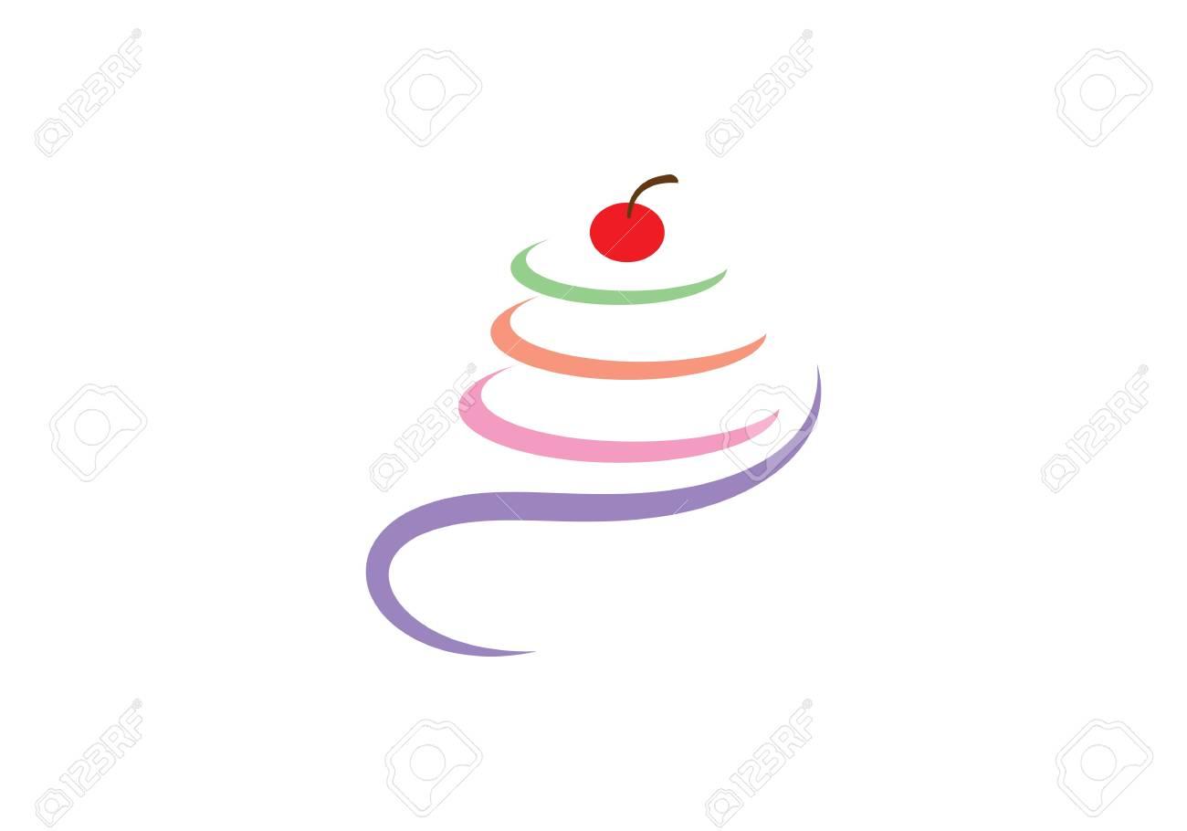 Cake illustration logo vector template - 98206564