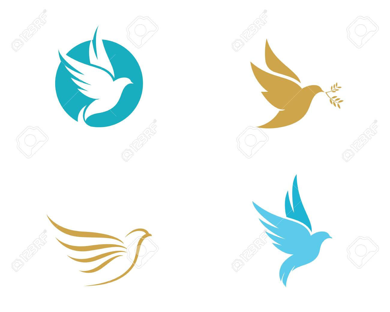 bird wing dove logo template vector illustration royalty free