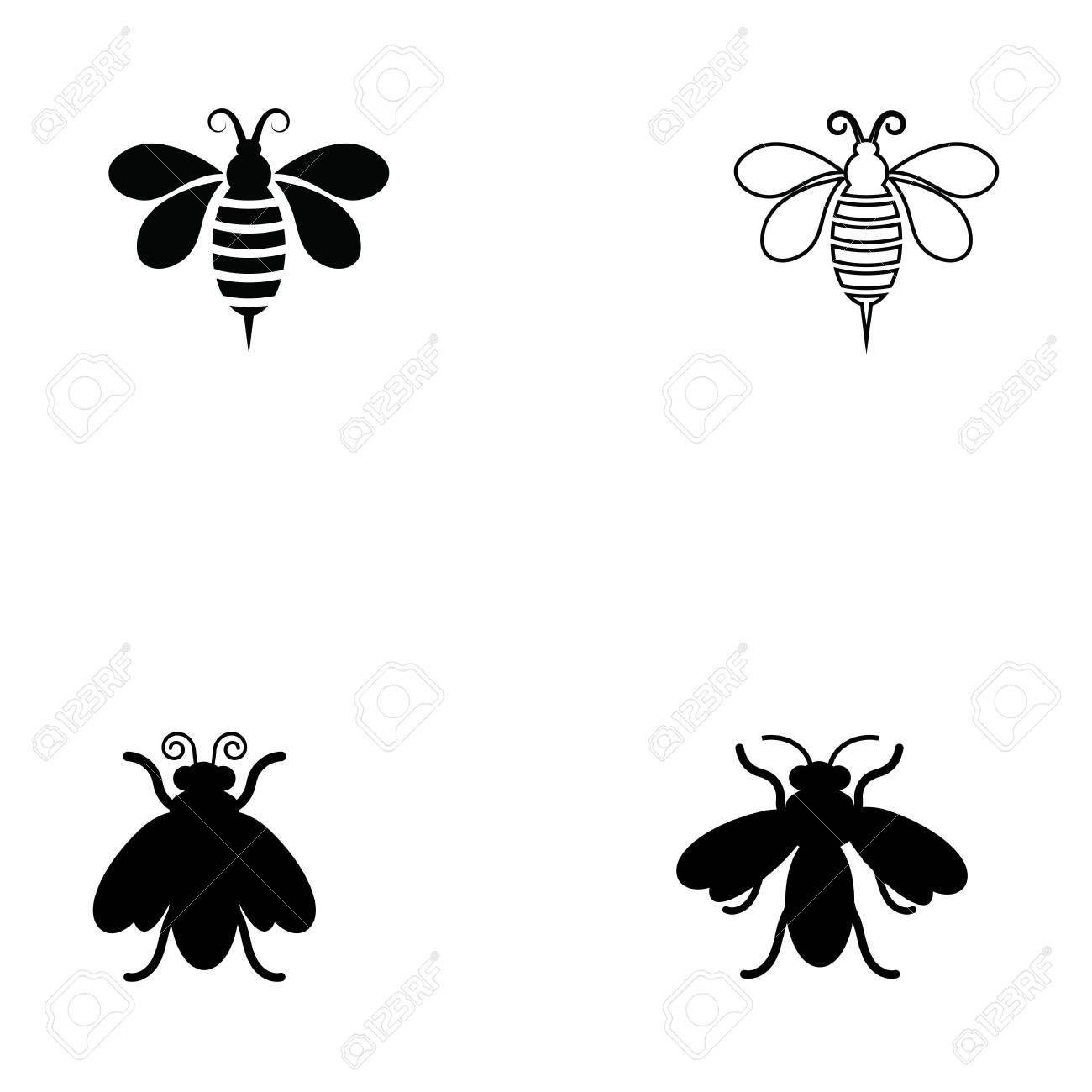 Bee icon Vector Illustration design Logo template - 132260794