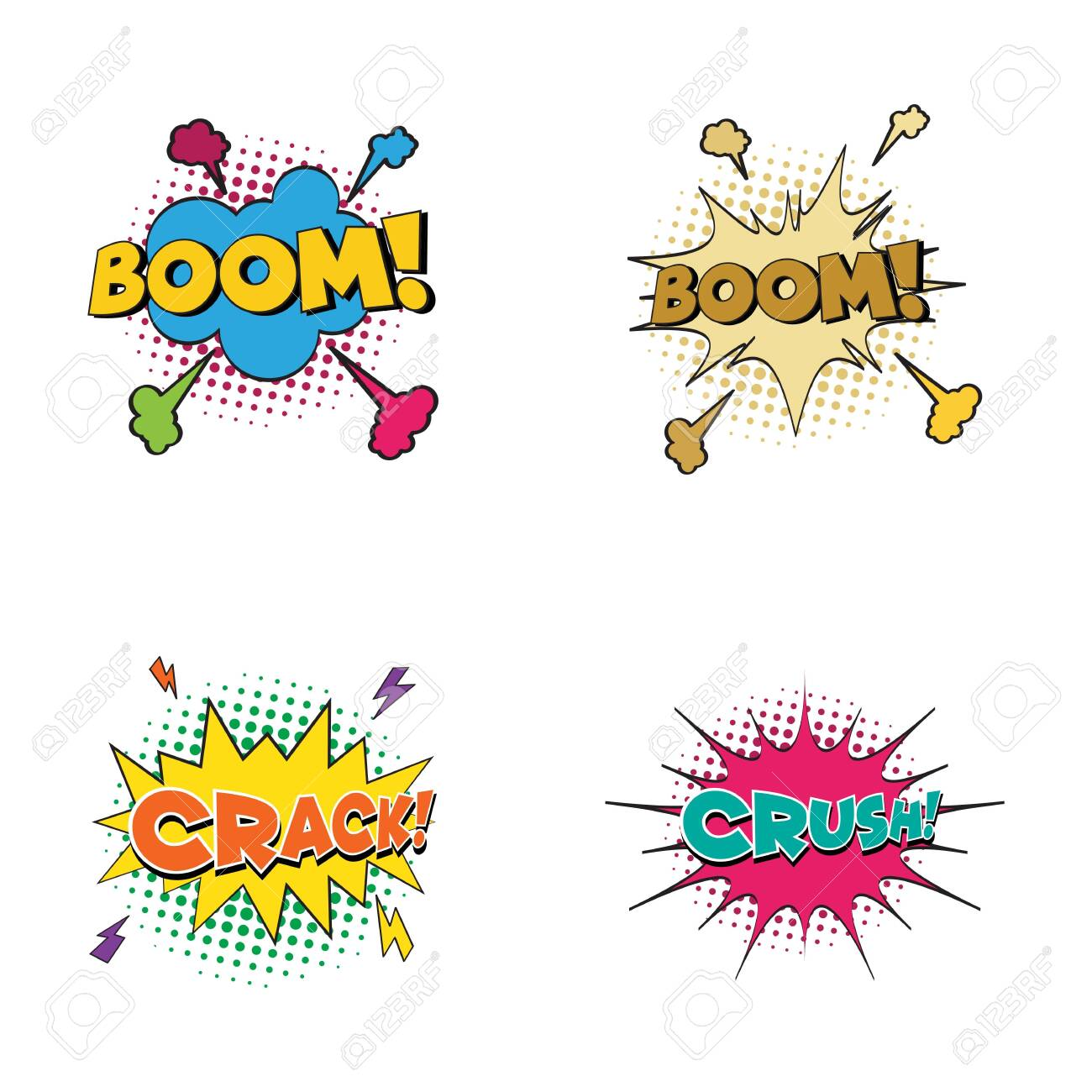 Comic Text Pop Art Style Cartoon Sound Effect Illustration Royalty Free Cliparts Vectors And Stock Illustration Image 137787559