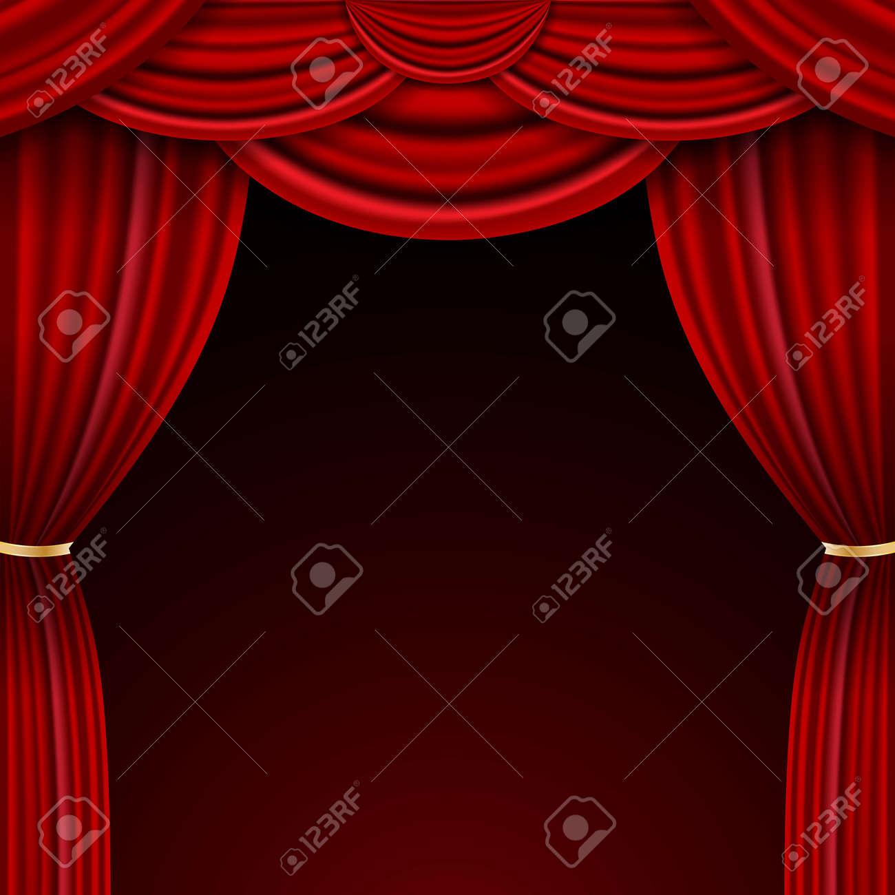 Realistic luxury curtain cornice decor domestic fabric interior drapery textile lambrequin, vector illustration curtains - 154567953