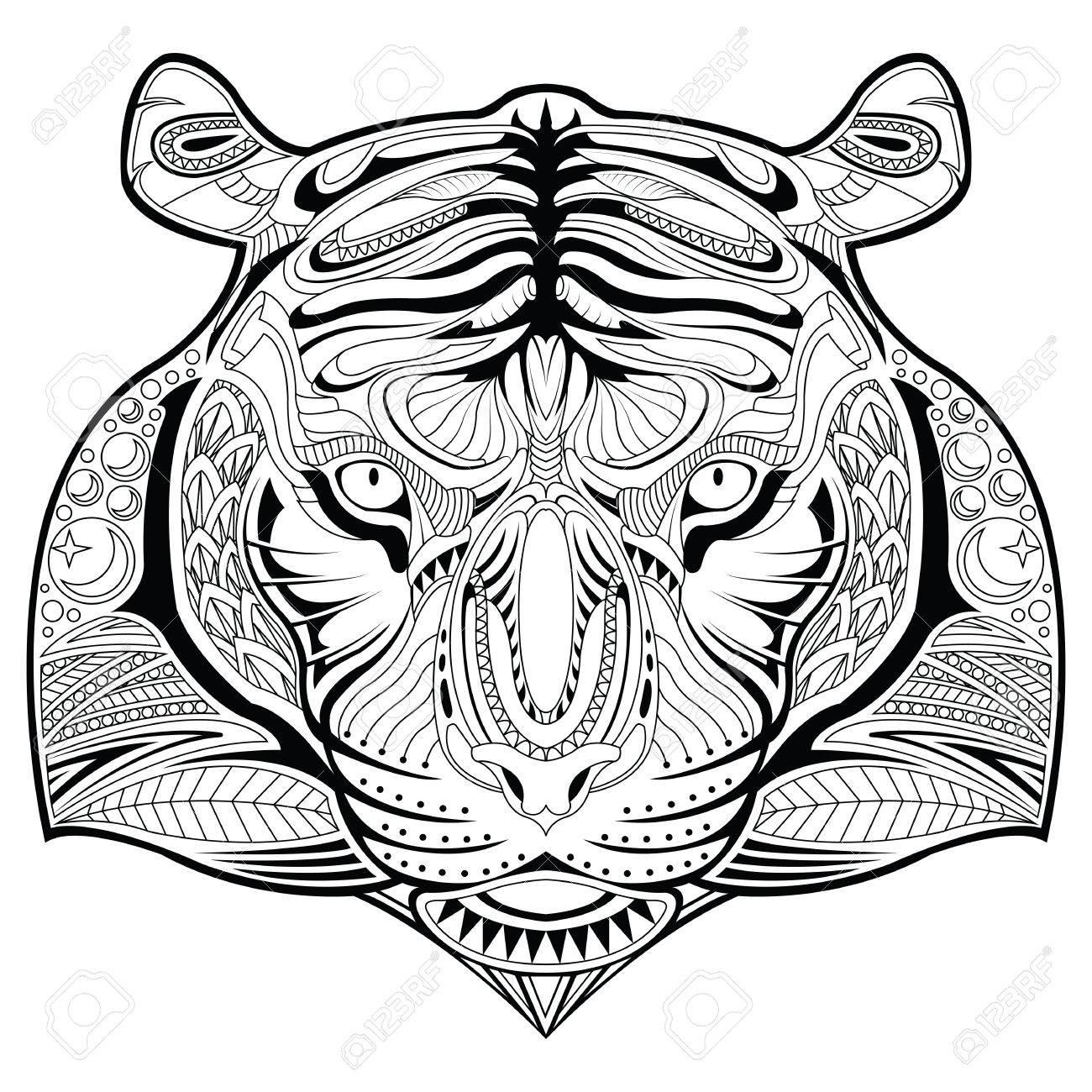 La Página De Ilustraciones Para Colorear Cara Del Tigre ...