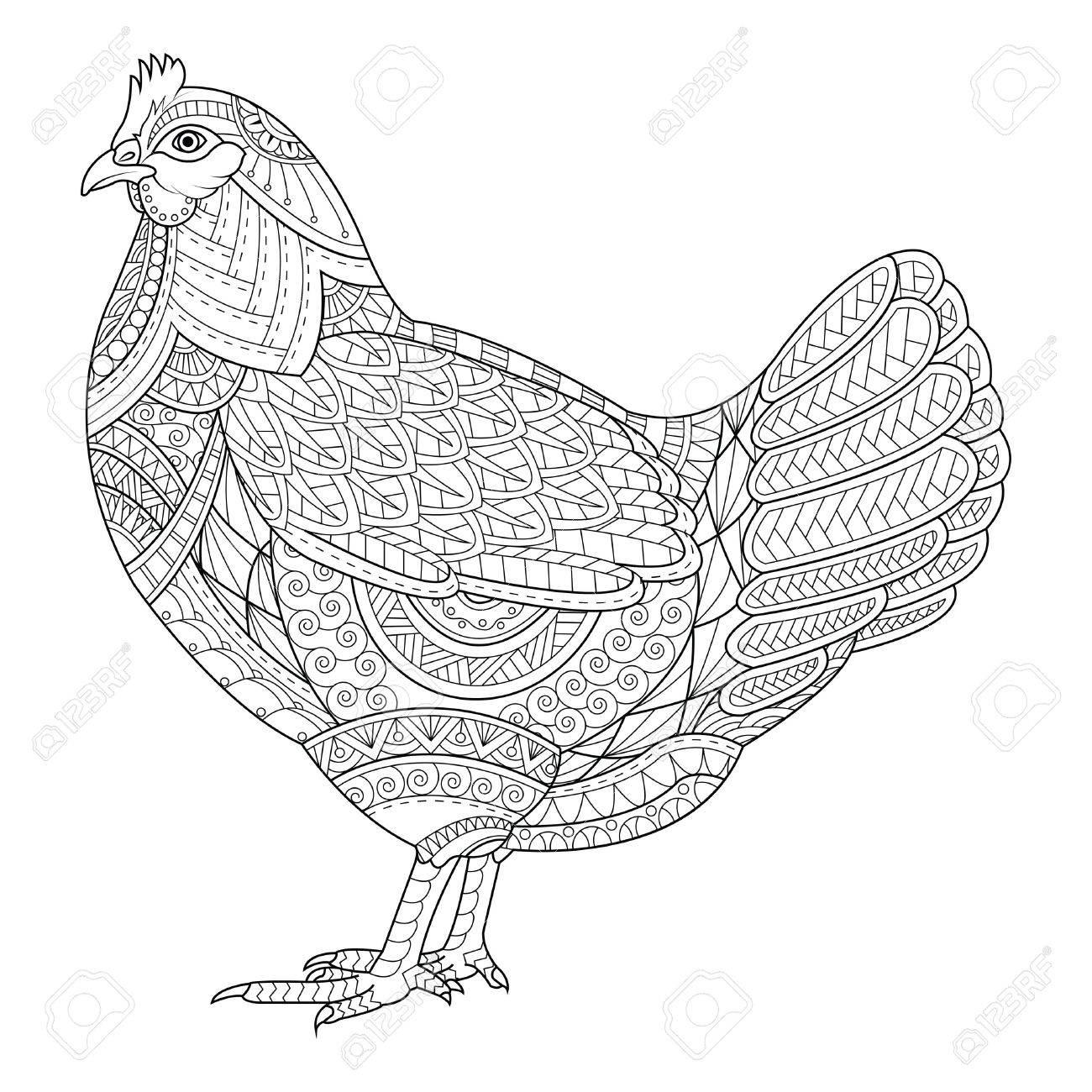 Hahn Malbuch Für Erwachsene, Huhn Chinesisches Tierzeichen Symbol