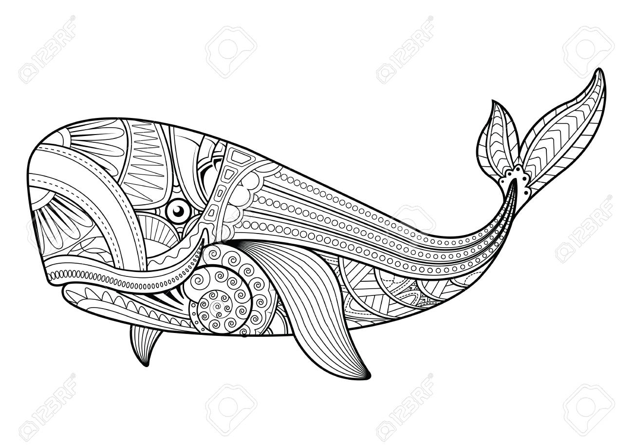 Pattern Vector Whale For Adult Anti Stress Coloring Pages ...