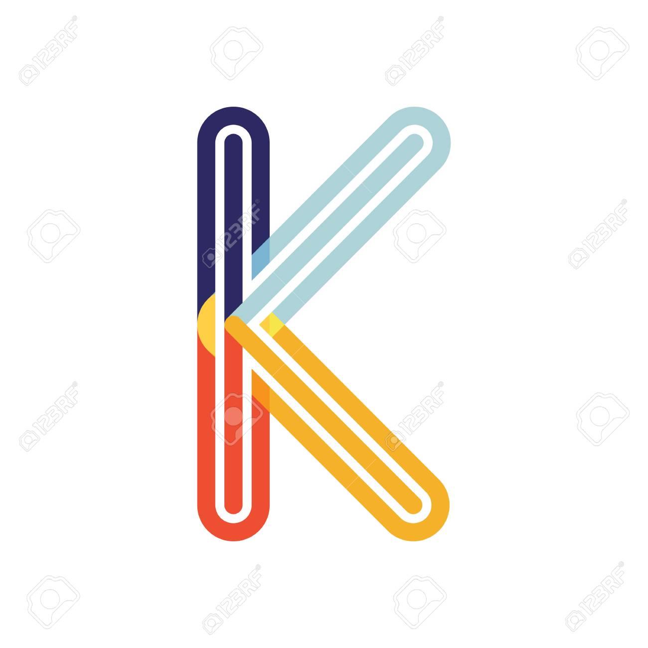 letter k colorful poly overlay logo design template element vector illustration stock vector