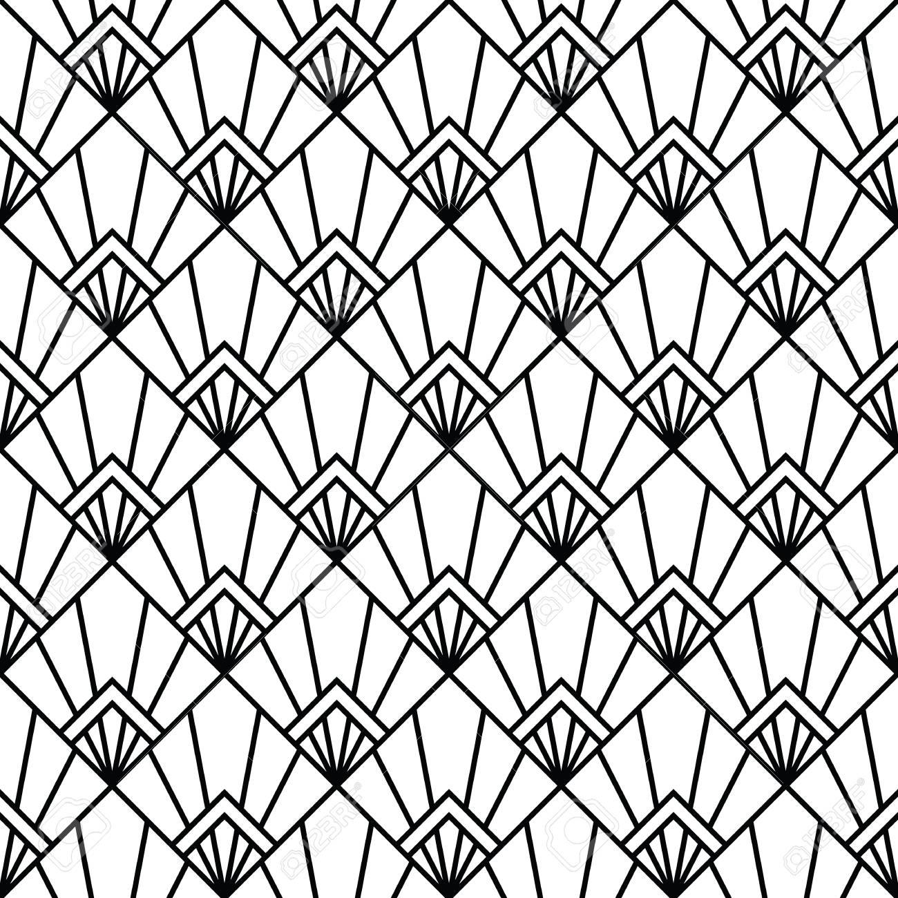 Art Deco Monochrome Arabic Black And White Wallpaper Royalty Free
