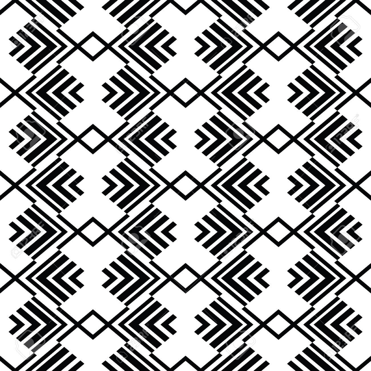 Illustration Vectorielle Art Deco Monochrome Sans Soudure Arabe Noir