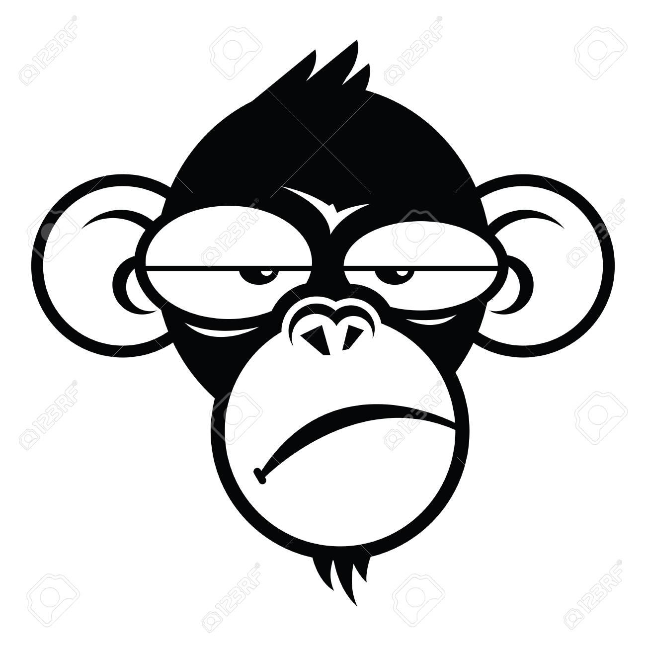 monkey sleepyface logo design template vector illustration