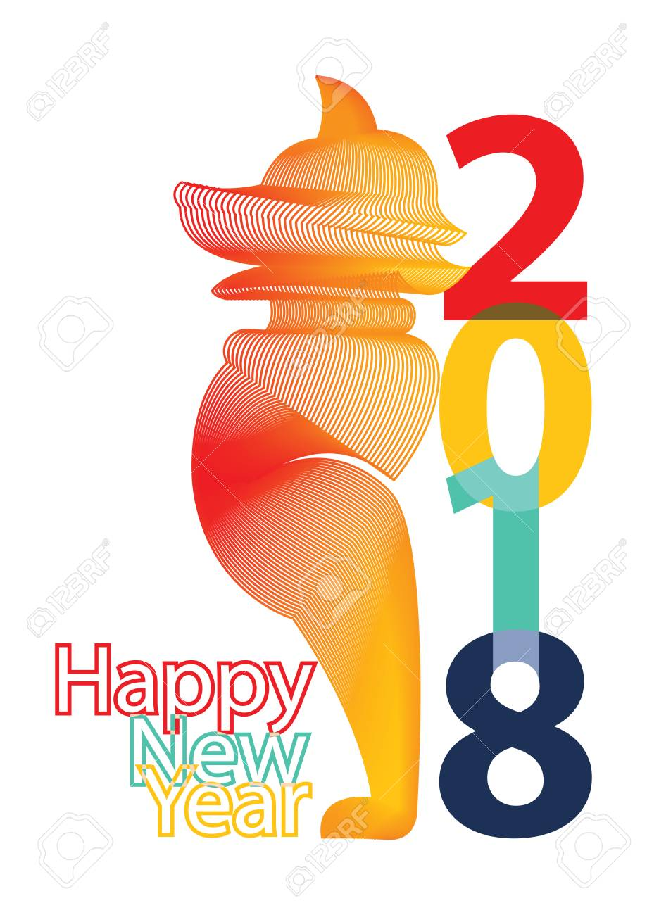 chinese new year 2018 with colorful dog design stock vector 91443032
