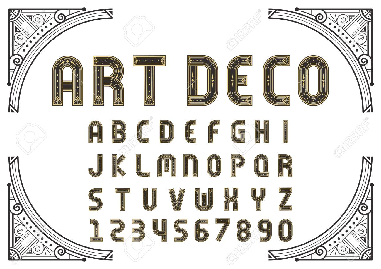 Art Deco Creative Font Alphabet Template In Style Of 1920s For