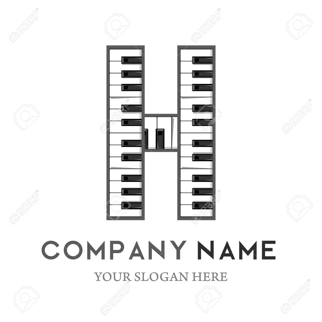 h letter logo design piano keyboard logo music icon design template