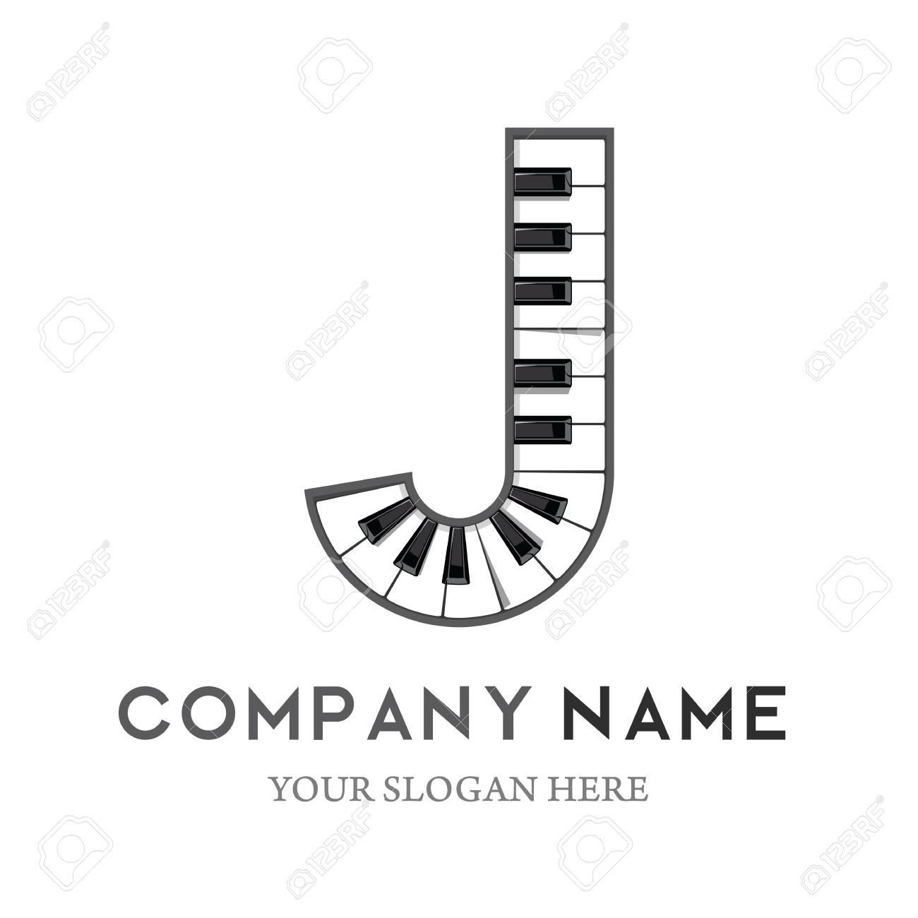 J Letter Logo Design Piano keyboard logo. Music icon design template. vector illustration. - 106187514