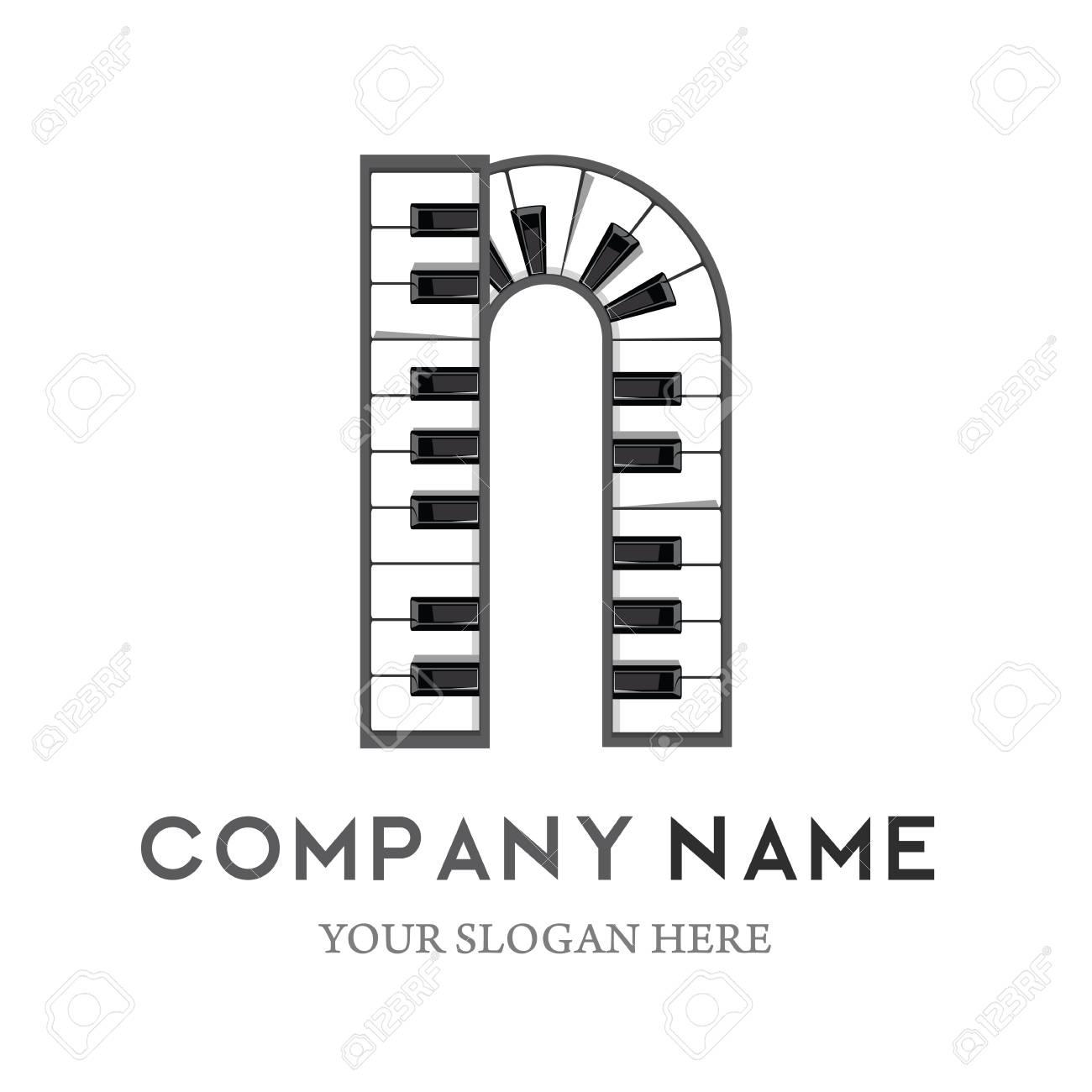 n letter logo design piano keyboard logo music icon design template vector illustration