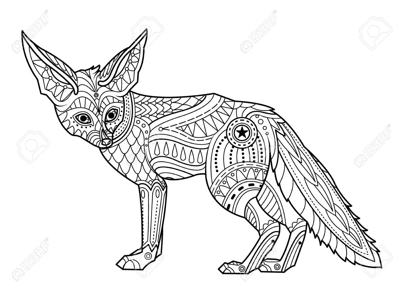 Fox coloring page. Hand drawn ornamental art, for adult coloring..