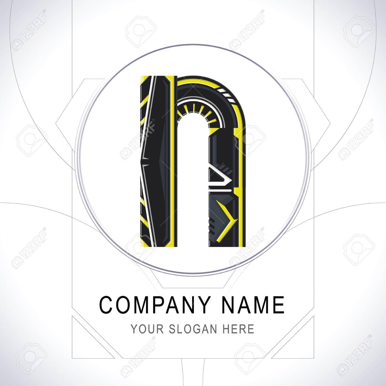 Letter N Gamer Community Black Logo Creative Yellow Line Alphabet