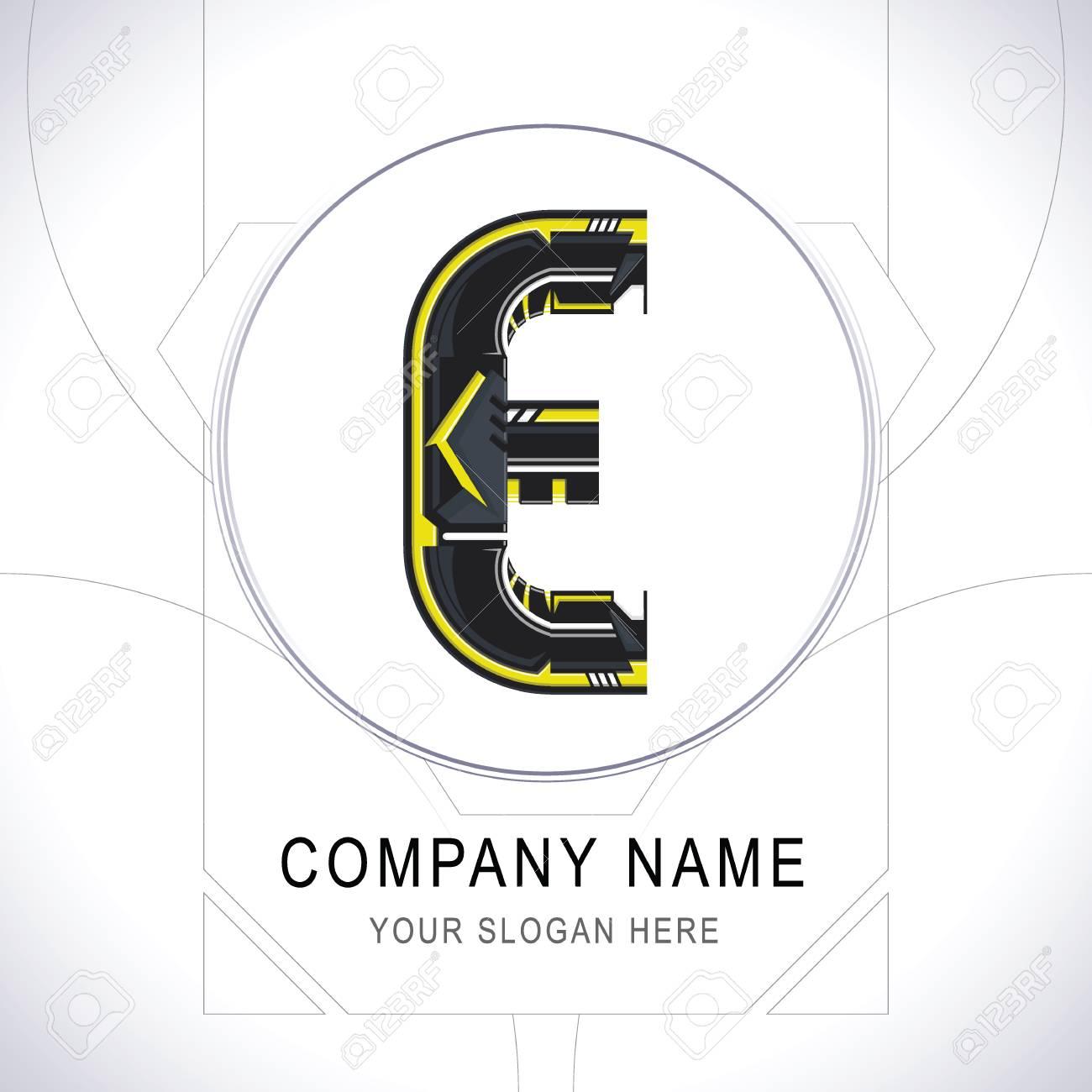 Letter E Gamer Community Black Logo Creative Yellow Line Alphabet