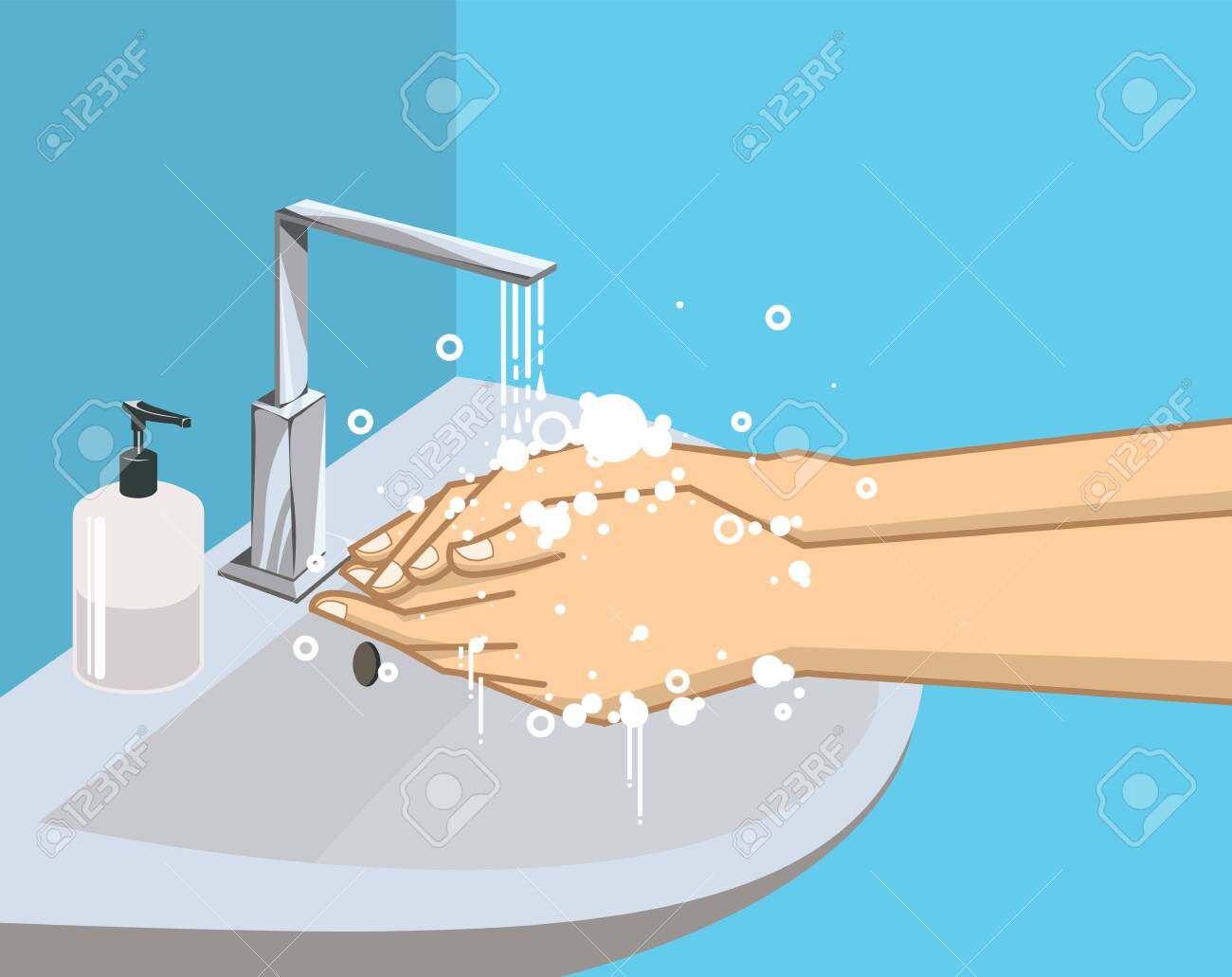 Washing hands with soap under the faucet with water, Hygiene and promotion of cleanliness and health, health care. vector illustration. - 141887316
