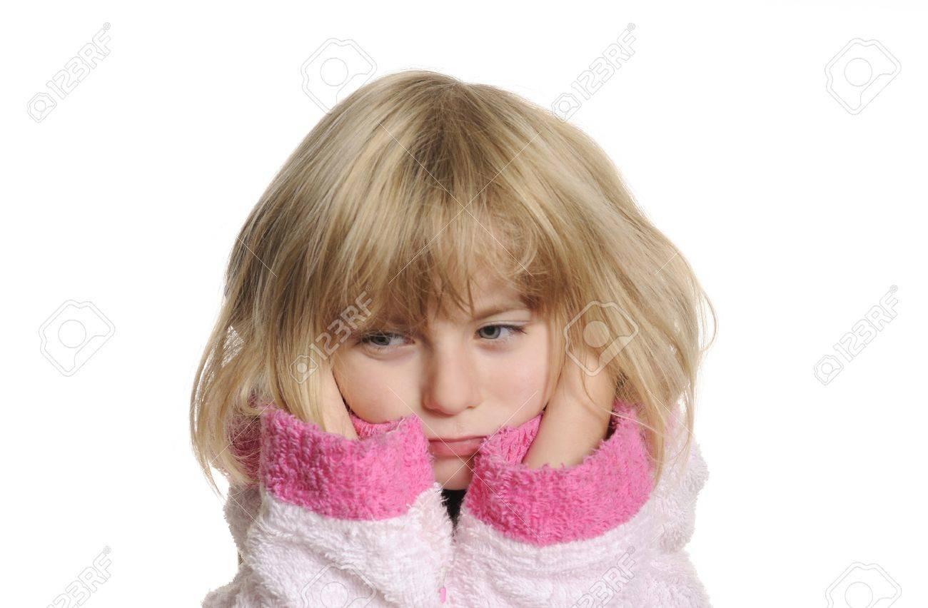 little girl has earache Stock Photo - 7988552