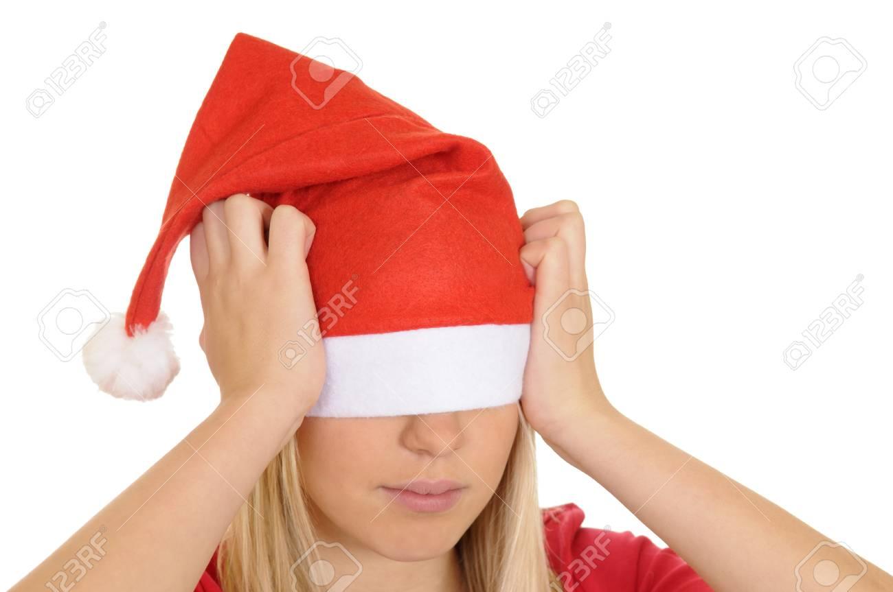 stressed christmas girl Stock Photo - 8309450