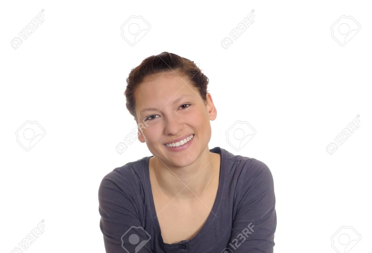 beautiful brunette woman laughing Stock Photo - 8924243