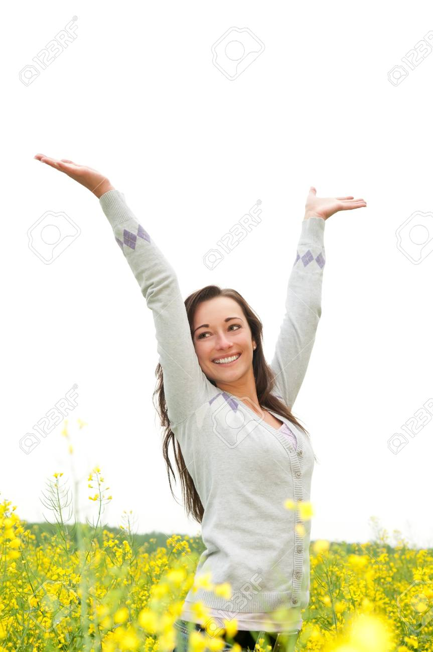 Young woman cheering in the rape Stock Photo - 13859486