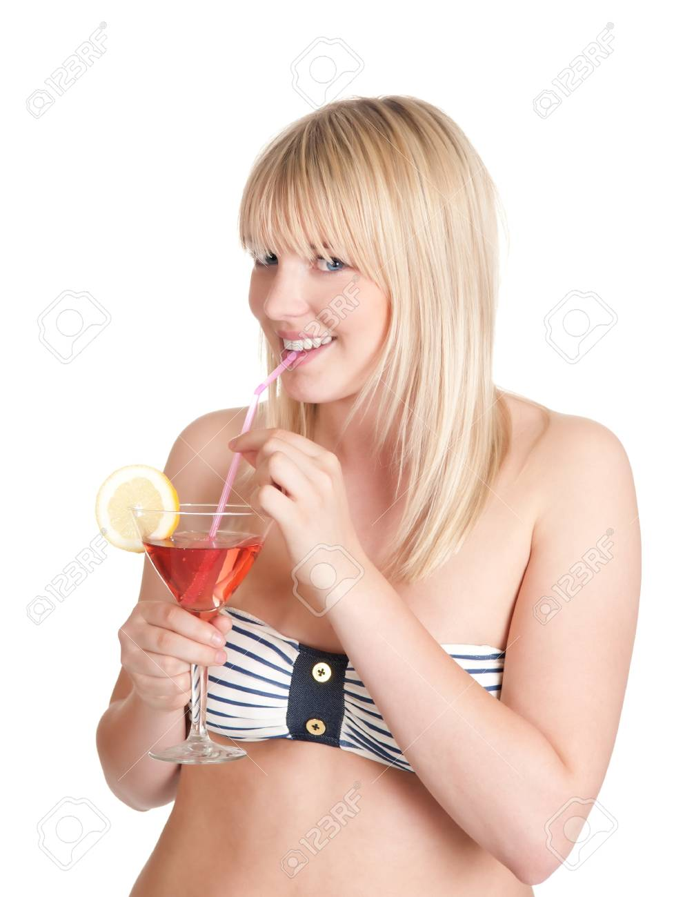 pretty young blond woman with cocktail Stock Photo - 14151272