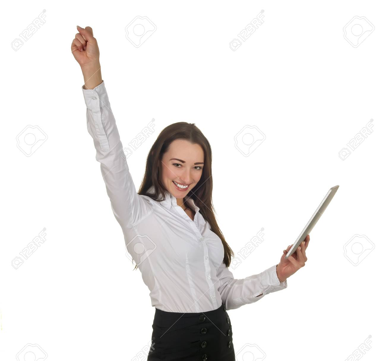 enthusiastic businesswoman with tablet pc cheering Stock Photo - 18527390
