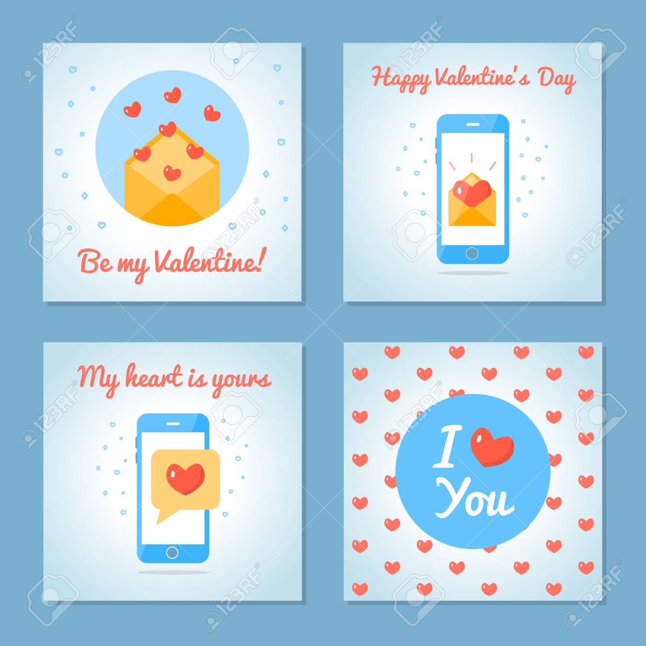 Set of greeting cards for valentine s day love letters and sms set of greeting cards for valentine s day love letters and sms blue colors m4hsunfo