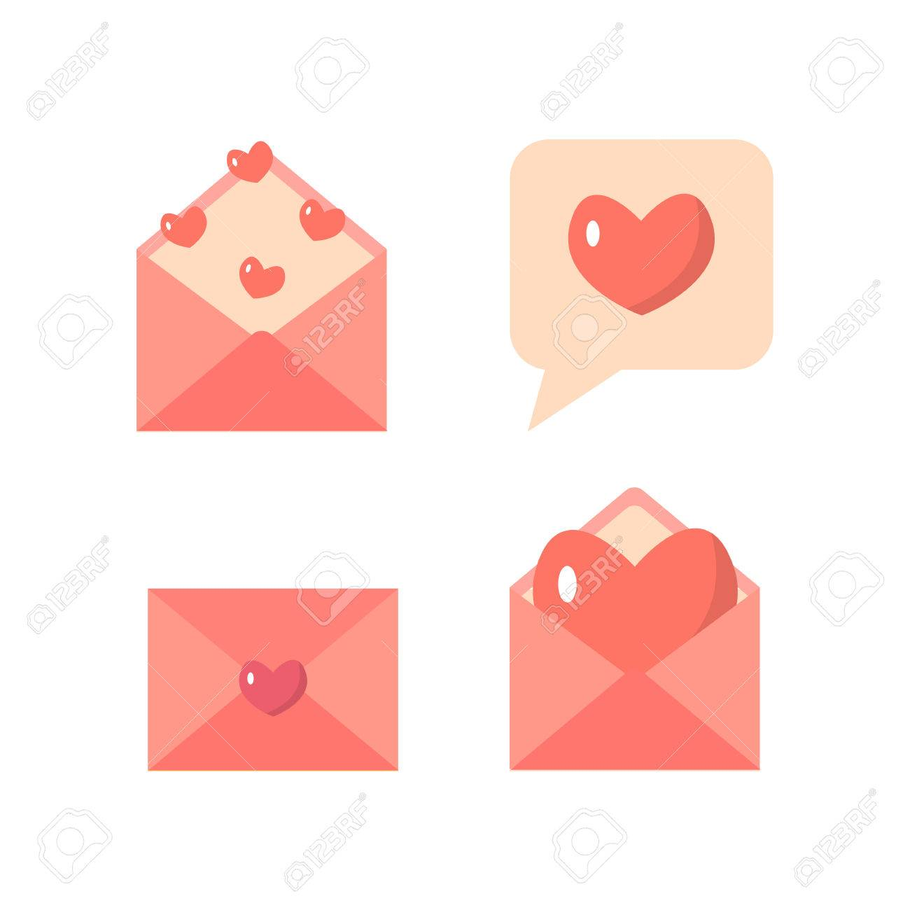 Flat Love Letter And Email Icons Set Valentine S Day Or Wedding