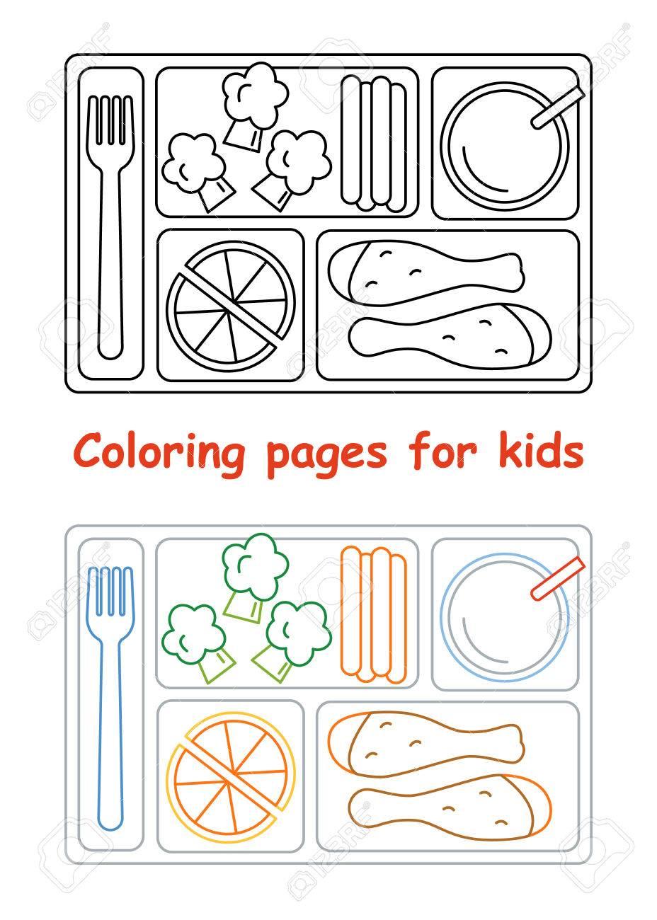 official store retail prices buying cheap Dibujos para colorear para niños. Bandeja del almuerzo. Estilo de línea.  Ilustración del vector