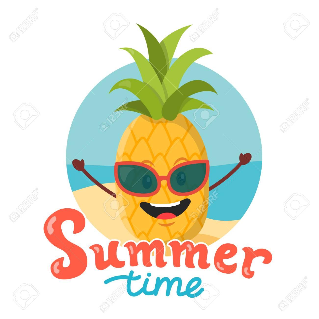 Cute Ananas Dessin Animé Illustration Vectorielle