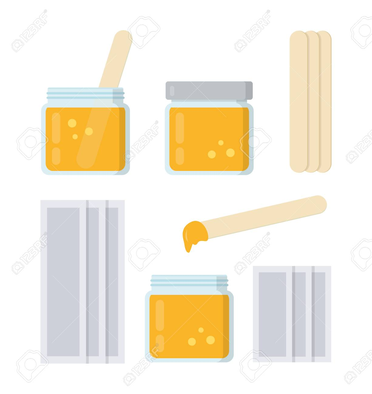 Set Tools For Waxing Hair Removal Glass Jars Of Wax Sticks Royalty Free Cliparts Vectors And Stock Illustration Image 96829041