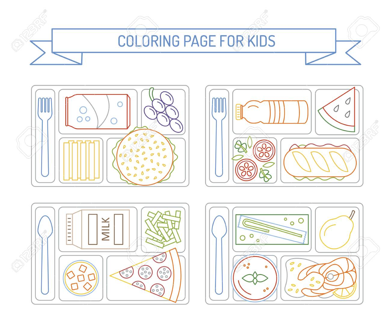 Coloring Pages For Kids With Colorful Border. Set Lunches On ...