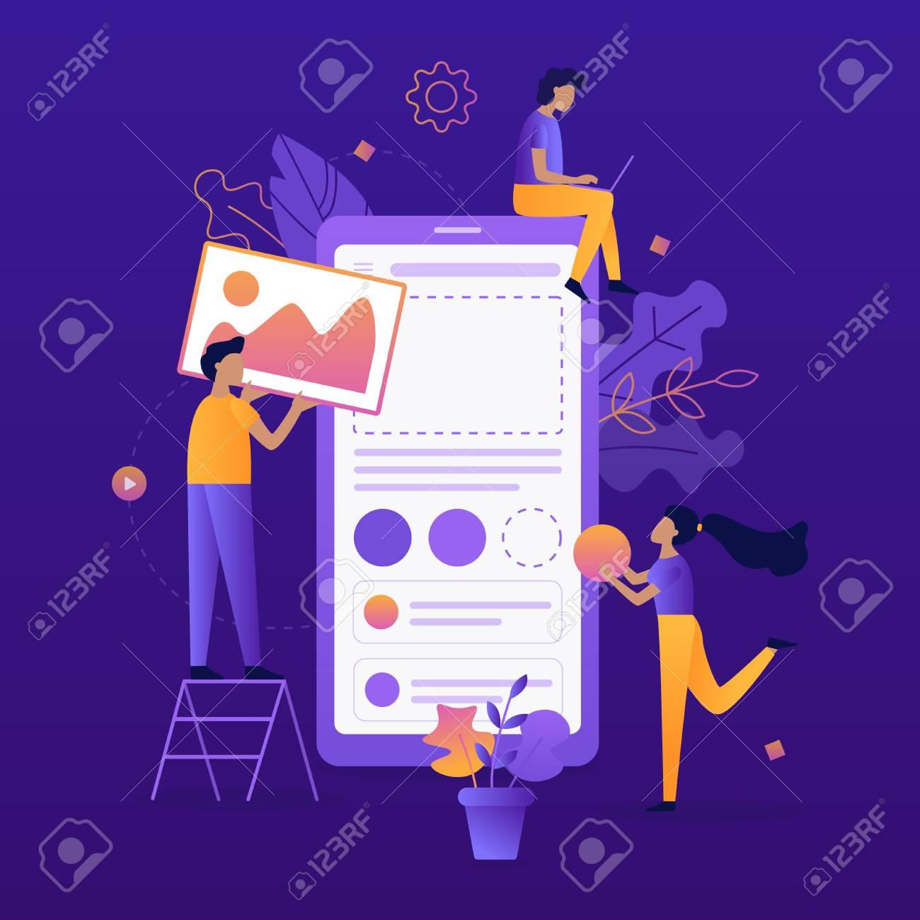 Team of developers construct mobile app. UI/UX design. Flat vector illustration. - 110349583