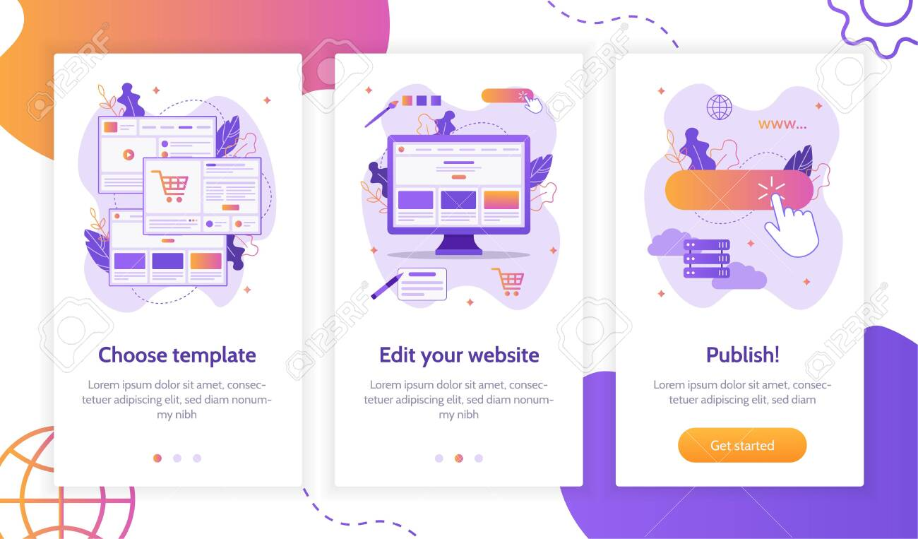 Steps to create a web choose template, edit and publish... on community builder, word builder, sentence builder, home builder, car builder,