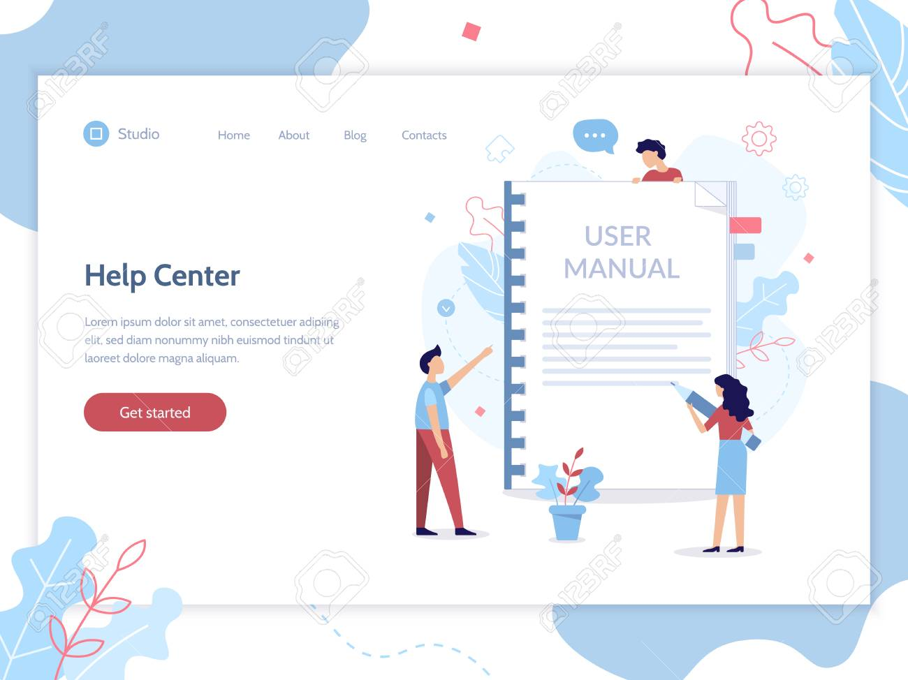 Help center web banner template. User manual concept. Flat vector illustration.