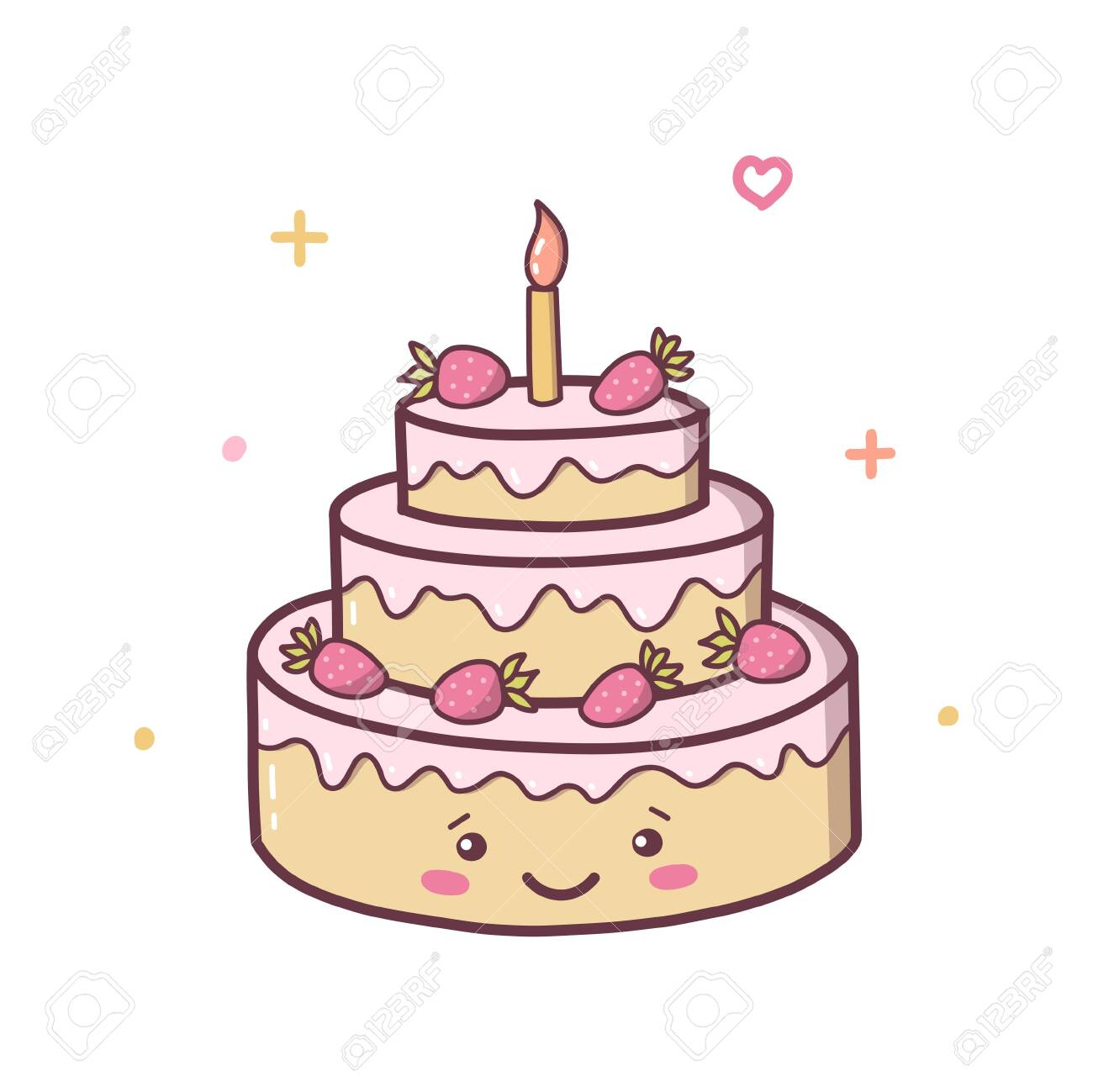 Happy Birthday Cake With Strawberries Kawaii Cartoon Character Royalty Free Cliparts Vectors And Stock Illustration Image 140400156