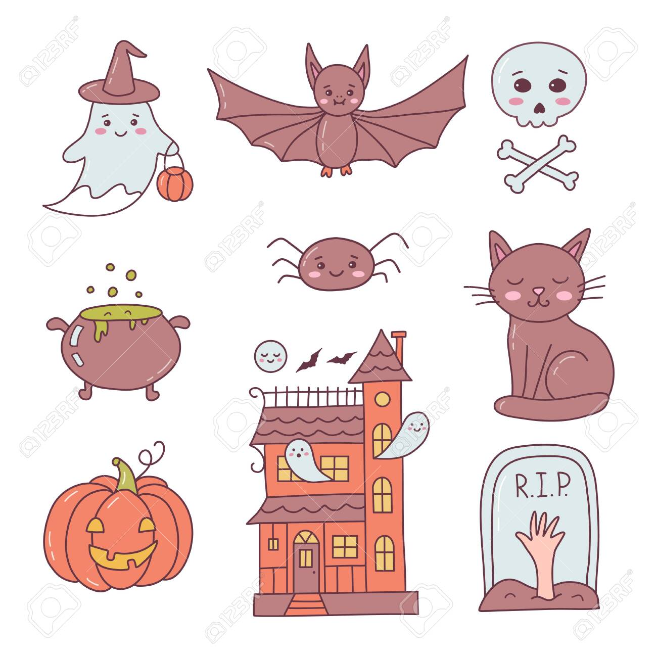 Happy Halloween icons collection.Cute cartoon hand drawn. Kawaii style. Vector illustration. - 157743164