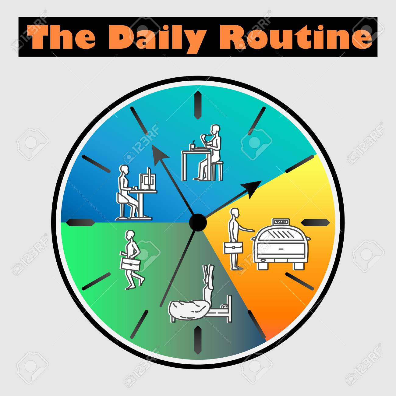 Vector Flat Illustration - Life Schedule Of Daily Routine With ...
