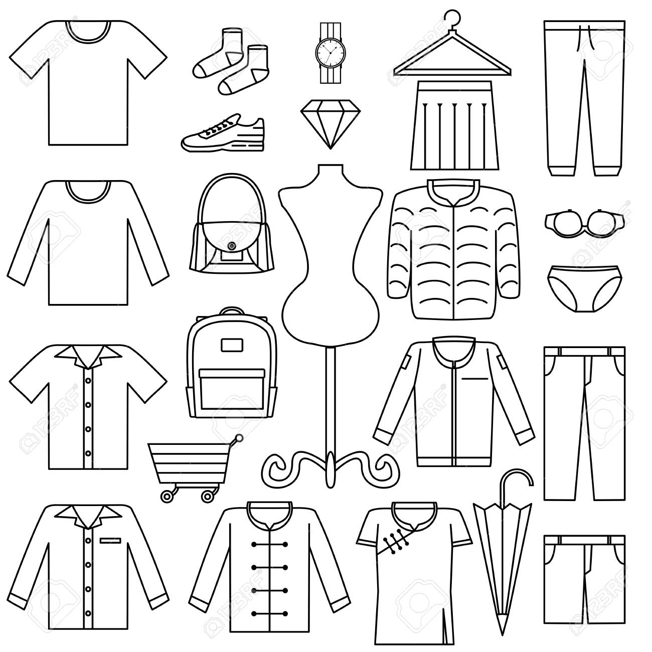 Vector Line Icon Set Fashion Sale Symbol Product Category On