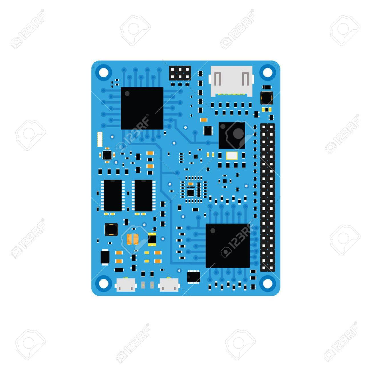 Diy Electronic Blue High End Board With A Microcontroller Royalty Build Circuit Stock Vector 63071547