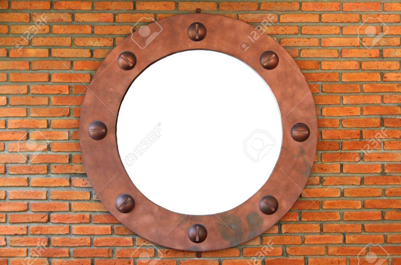 White Hole In Red Brick Wall, Brick Frame Stock Photo, Picture And ...