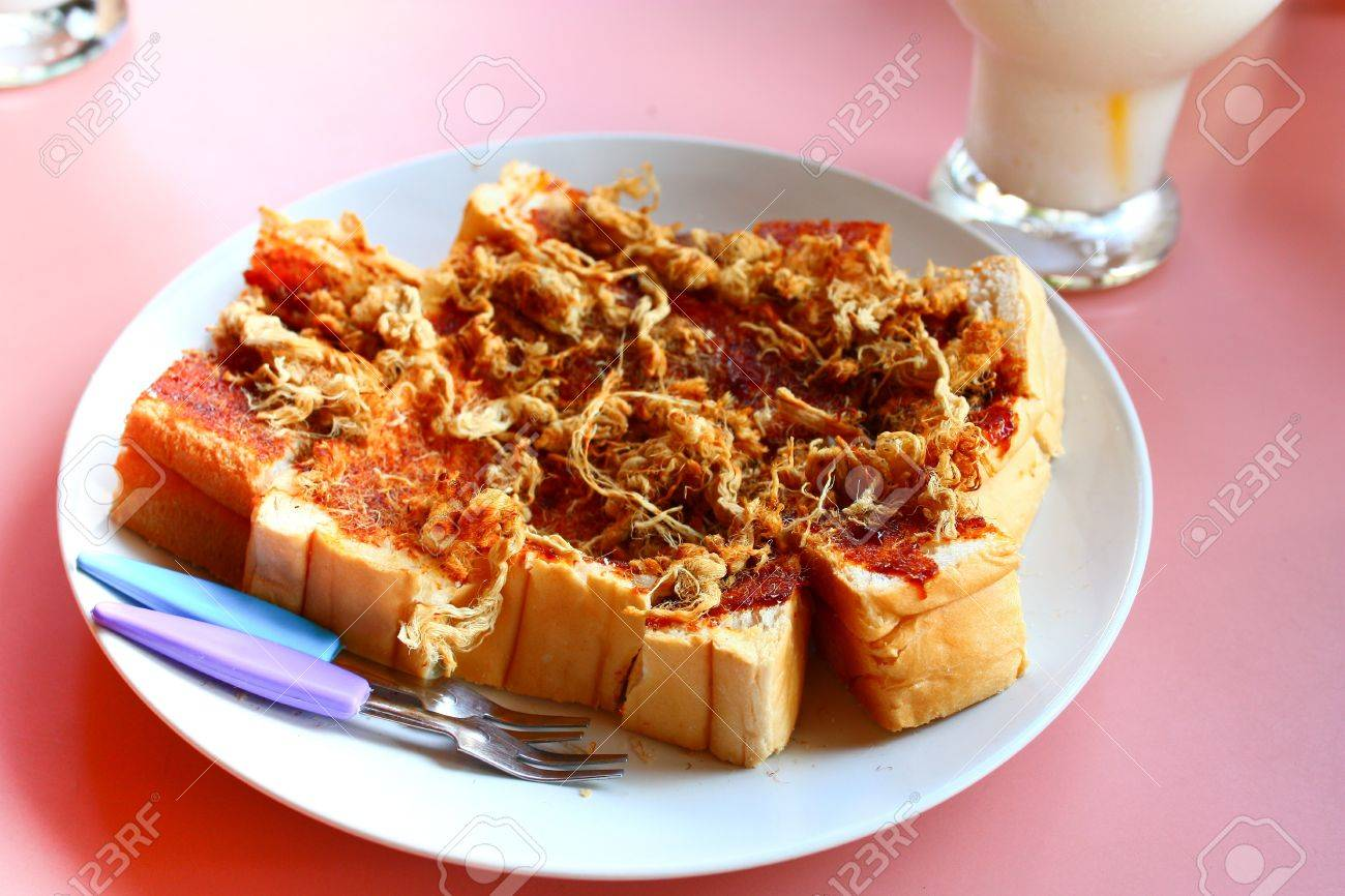 Toast shredded pork and chili paste style Thailand Stock Photo - 18141817
