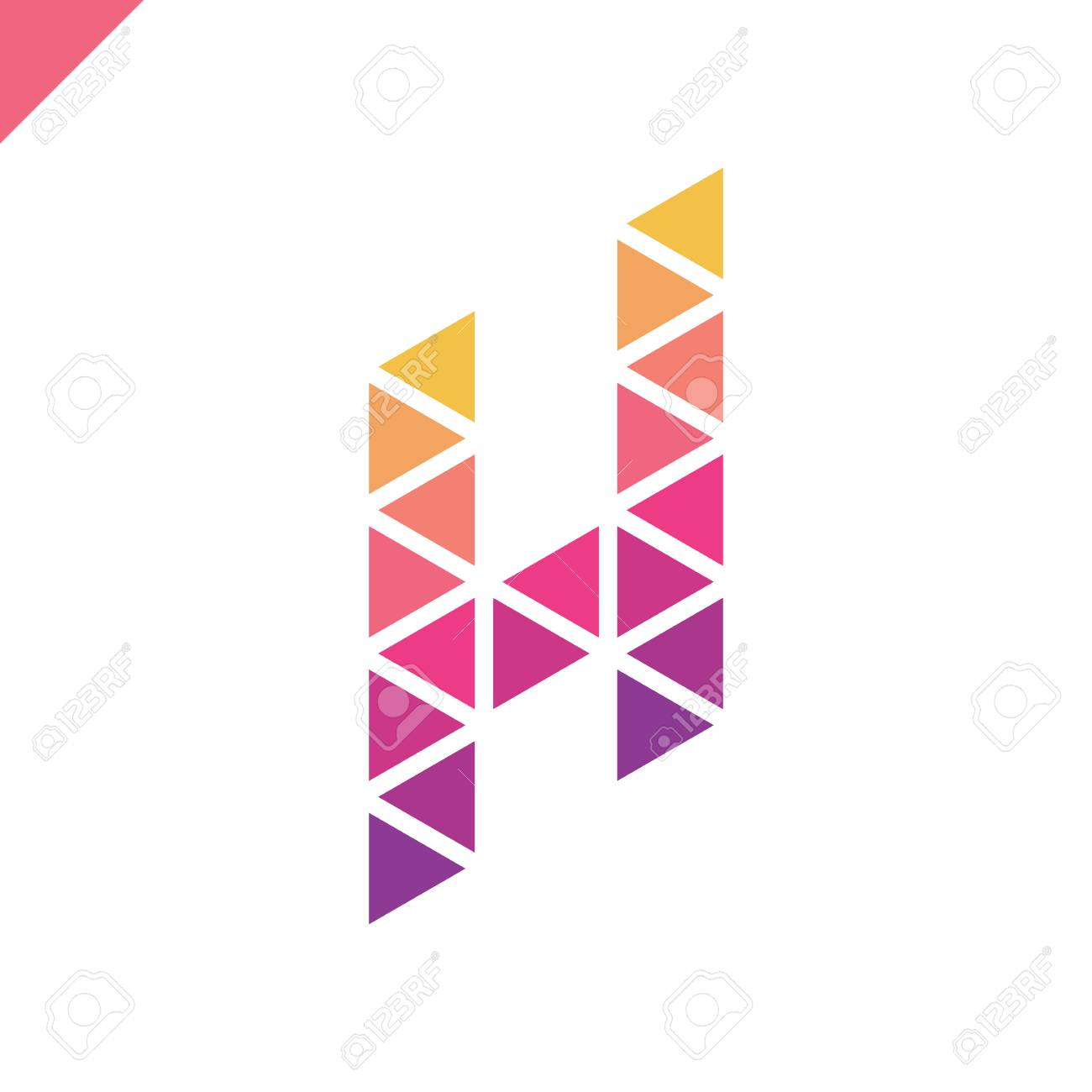 Letter H Logo Icon With Origami Triangle Symbol. Colorful Abstract ...