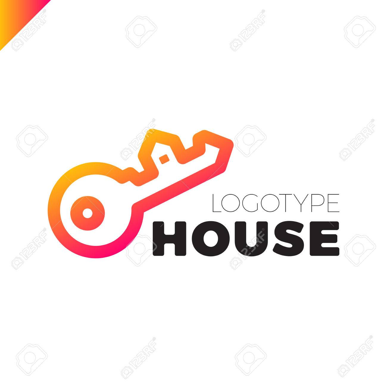 Home Security Key House Logo Outline Design Royalty Free Cliparts ...