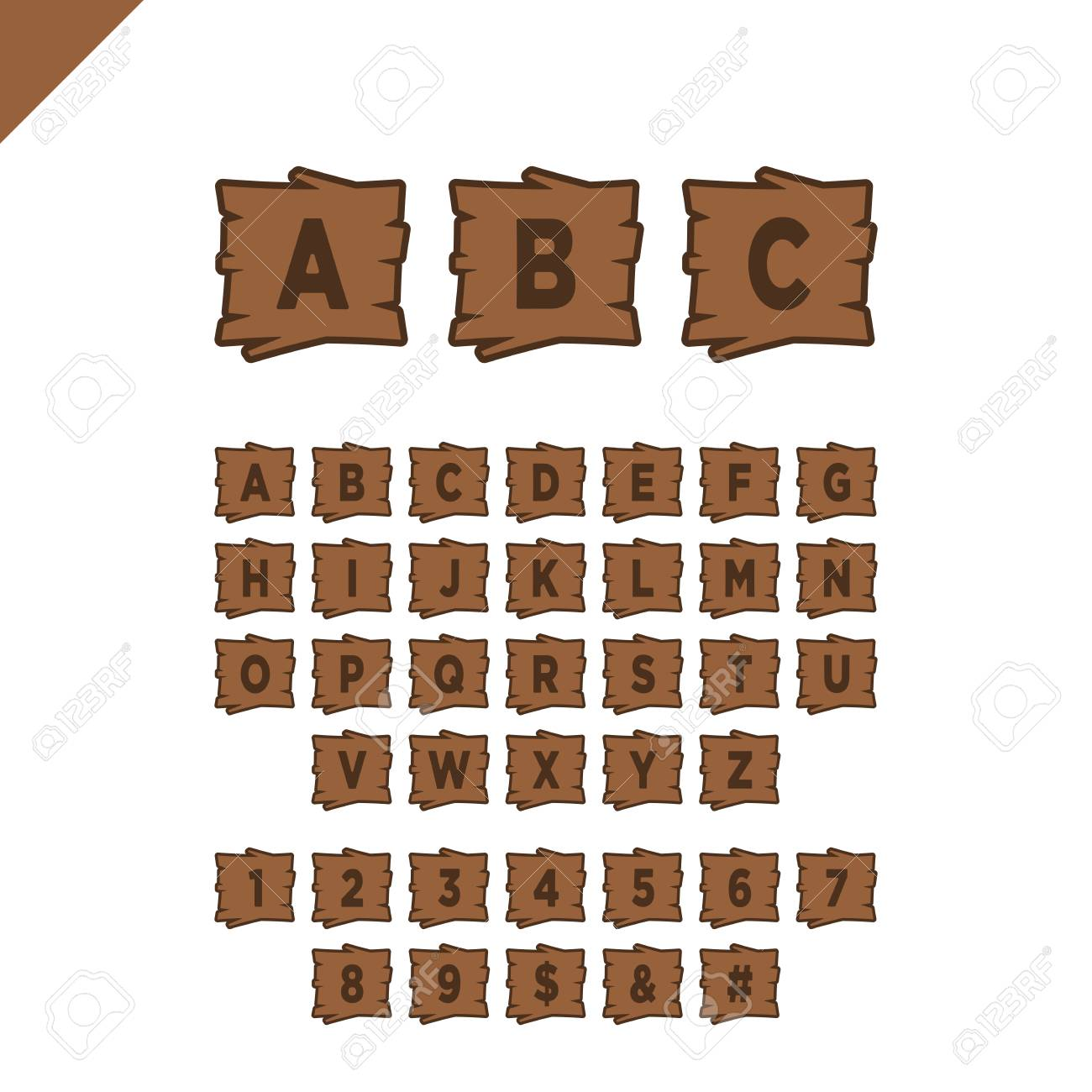 Alphabet Box Letter Font.Wooden Alphabet Blocks With Letters And Numbers In Wood Texture