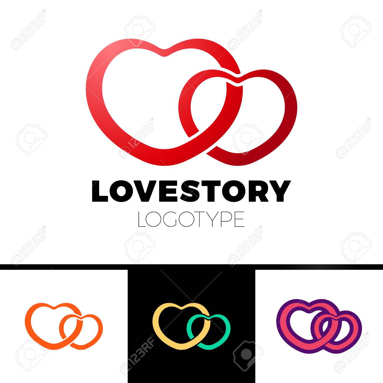 Two Hearts Logo Abstract Vector Symbol Of Love Logotype Royalty