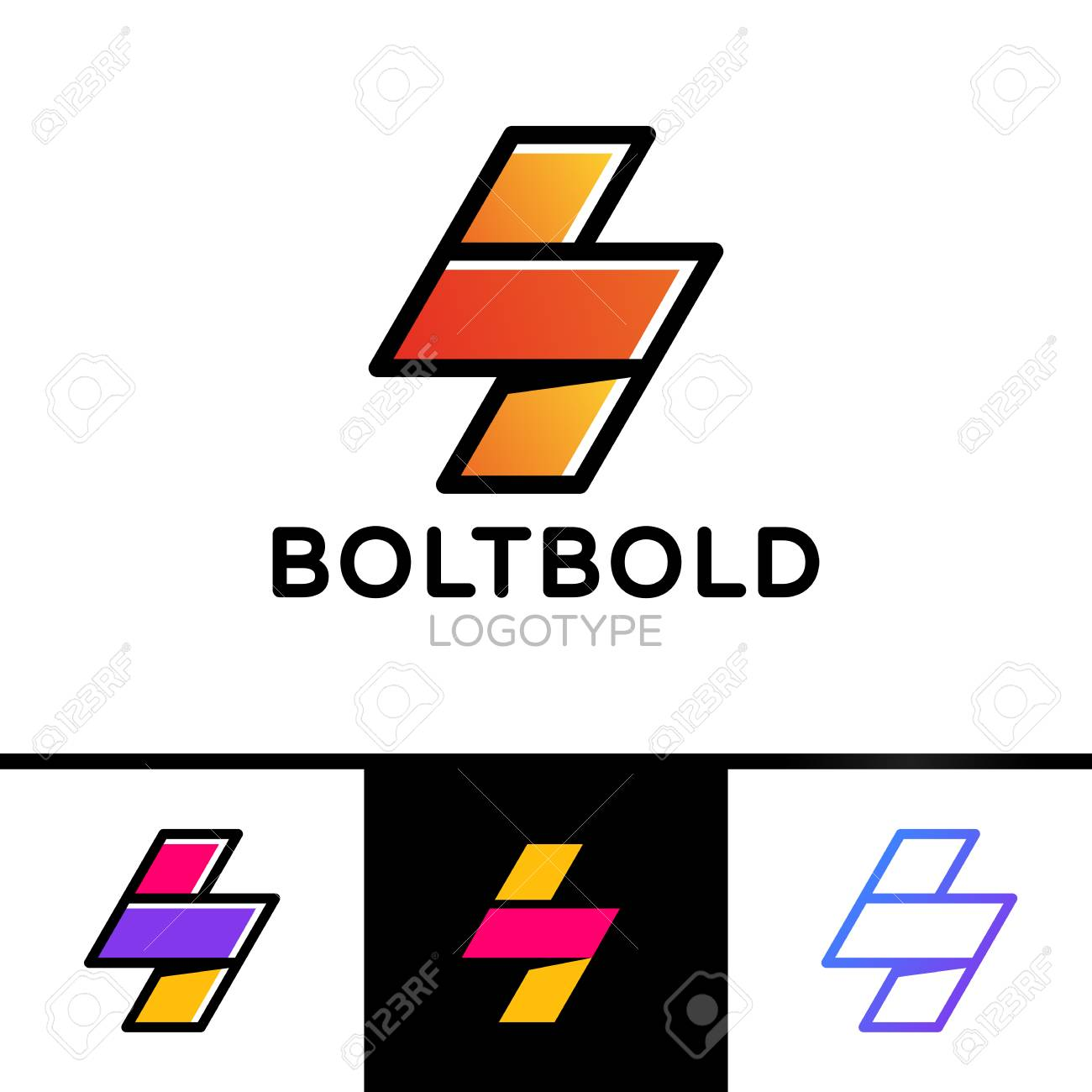 Electrical Logo Concept Lightning Bolt Minimal Simple Symbol Outline Style Flash Sign Design Vector