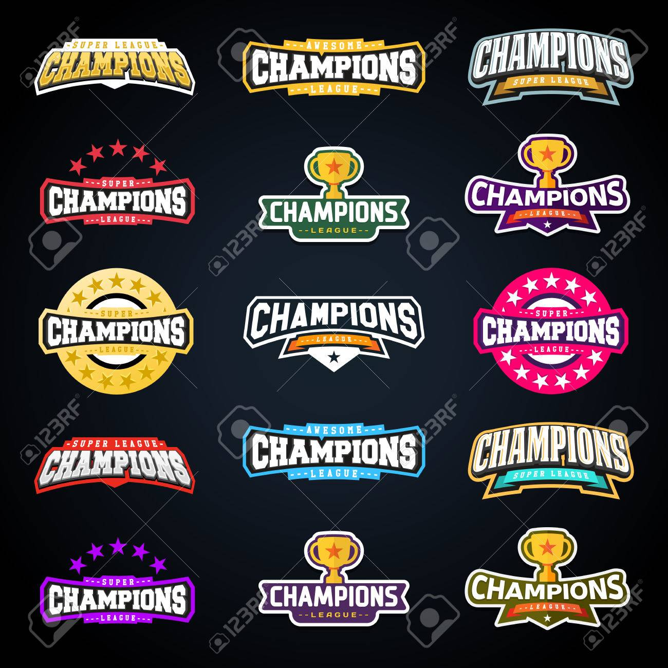 Sport champion or champions league emblem typography set. Super logo for your t-shirt. Mega logotype collection. - 87346371