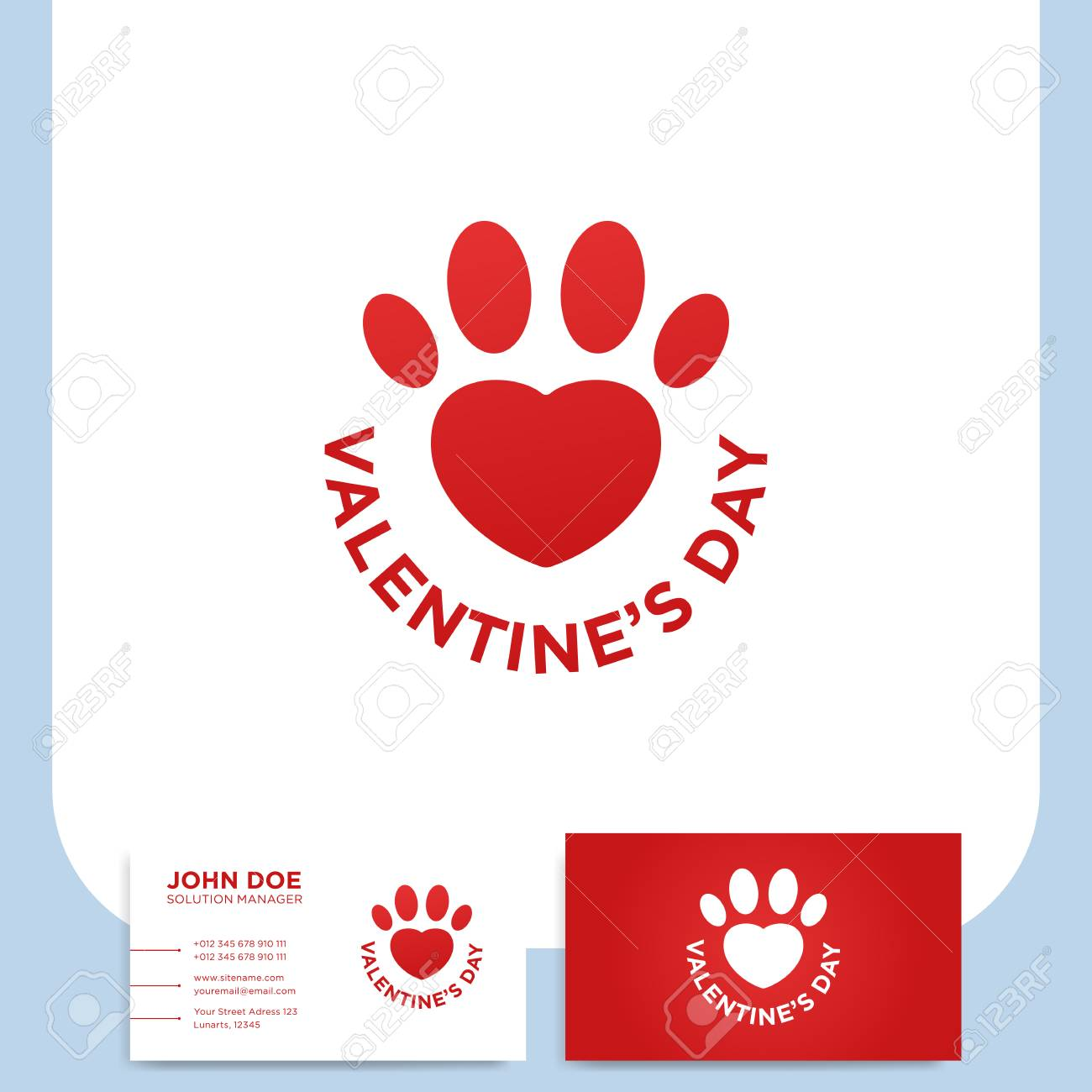 Valentine\'s Day Red Heart Shaped Paw Print With Text And Business ...